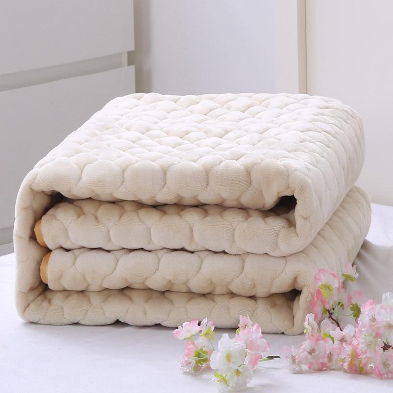 Nuevo de lana gruesa de Coral fundas de colchón doble sólido colchón ...