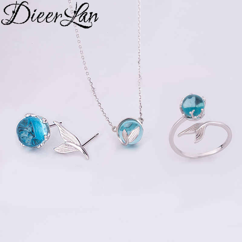 DIEERLAN Fashion Wedding Bridal Jewelry Sets 925 Sterling Silver Mermaid Tail Necklaces Ring Earring for Women Statement Jewelry