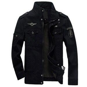 Image 2 - HANQIU 브랜드 M 6XL 폭격기 재킷 남자 군사 의류 2020 봄 가을 남성 코트 솔리드 느슨한 육군 군사 재킷