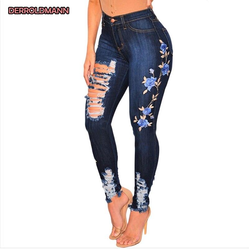 Women Elastic Jeans Broken Pants Torn Denim Ripped Pants High Waist Embroidery Flowers With Zipper Pocket Jeans Women