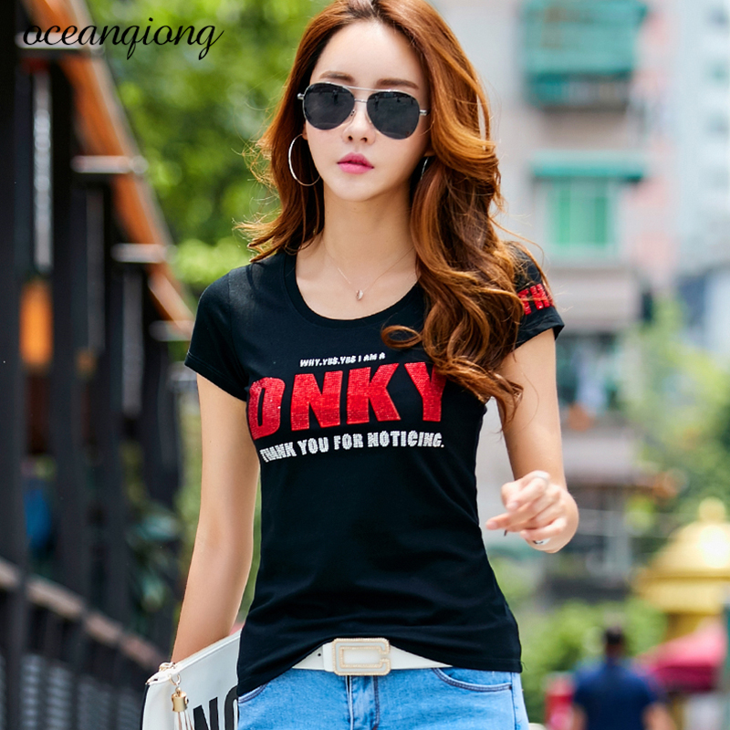 Summer T shirt Women Cotton DNKY Letter Rhinestones Print Shirt O Neck Short Sleeve T Shirts Soft Casual Slim Tops Plus Size image