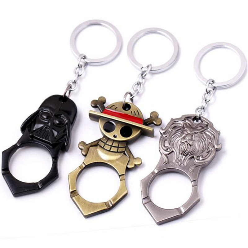 <font><b>One</b></font> <font><b>Piece</b></font> <font><b>Luffy</b></font> Figure Wine Opener Car Key Ring Black Darth Vador Beer Opener Keychain Anime Metal Pendant Keyring gift Toys image