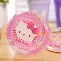 Womn S Hello Kitty Fashion Glass Round Cigarette Ashtray Holder For Car Home Or Office As