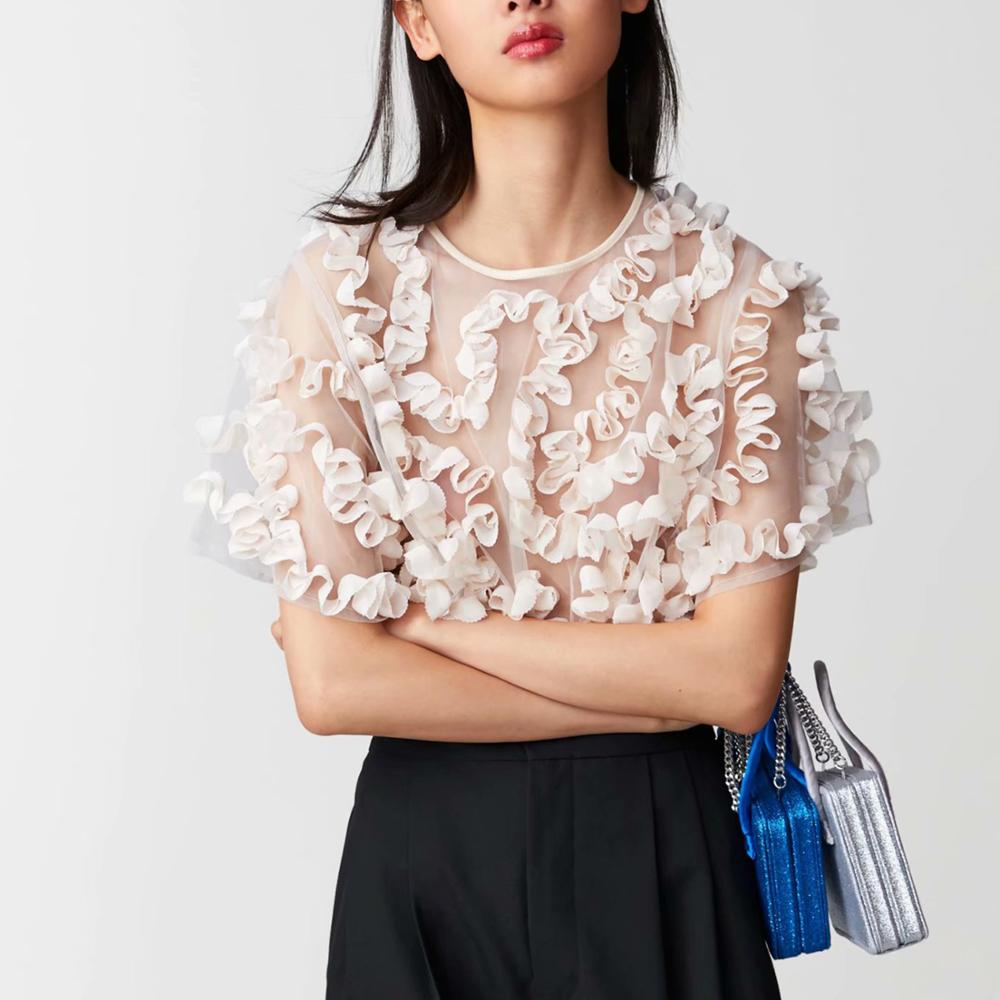 Summer beige mesh   blouse     shirt   women top tulle see-through wavy Coiling decoration Casual stylish charming   blouse   femme blusas