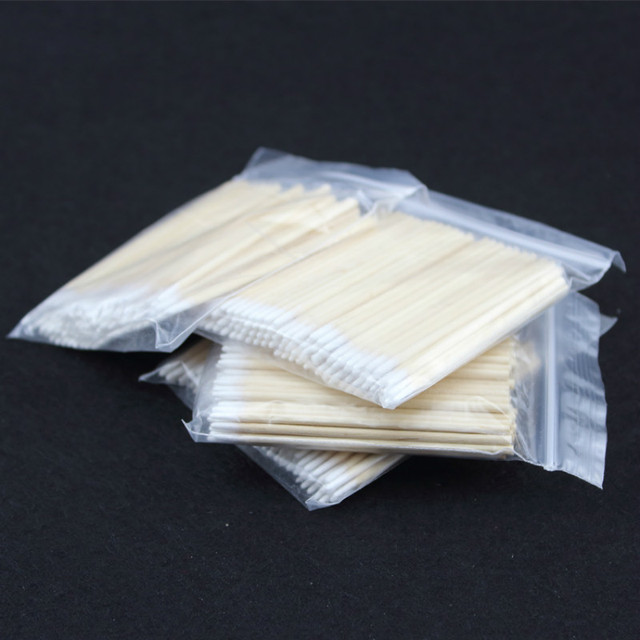 100pcs Wooden Cotton Swab Cosmetics Permanent Makeup Health Medical Ear Jewelry 7cm Clean Sticks Buds Tip 2