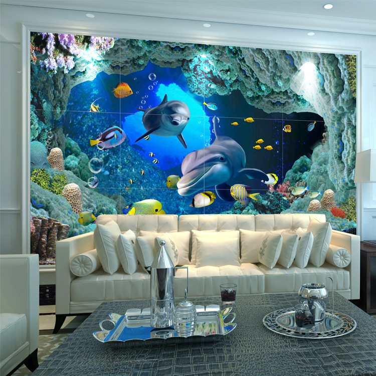 Realistic 3D Relief Ceramic Tile 600600 Television Background Wall 3d Floor Tiles Living Room