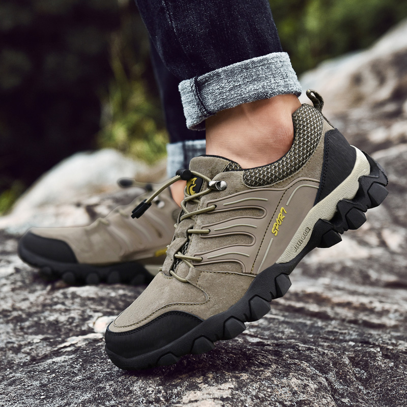 Hot Sale Leather Hiking Shoes Men New Spring and Autumn Breathable Man Sneakers Light Mens Outdoor Climbing Sport Shoe 3 Colors in Hiking Shoes from Sports Entertainment