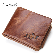 Trifold crazy zip horse cowhide mens coin pocket wallets genuine purse