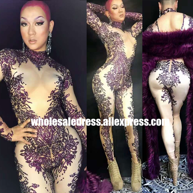 a873bab272 Free DHL Sexy Crystal Rhinestone Jumpsuit Celebrity Performance Wear  Bodysuit Night Dance Wear Women Singer Stage