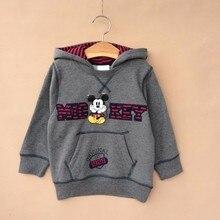 Children 6 Pieces/lot 2-12T Boy Cute Mickey Cartoon Fleece Hooded Sweatshirt Boy Winter Jacket