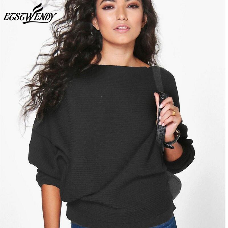 New Autumn Winter 2019 Casual Women Sweater Batwing Long Sleeve Knitted Sweater Solid Color Pullover Sweater Loose Cotton Tops