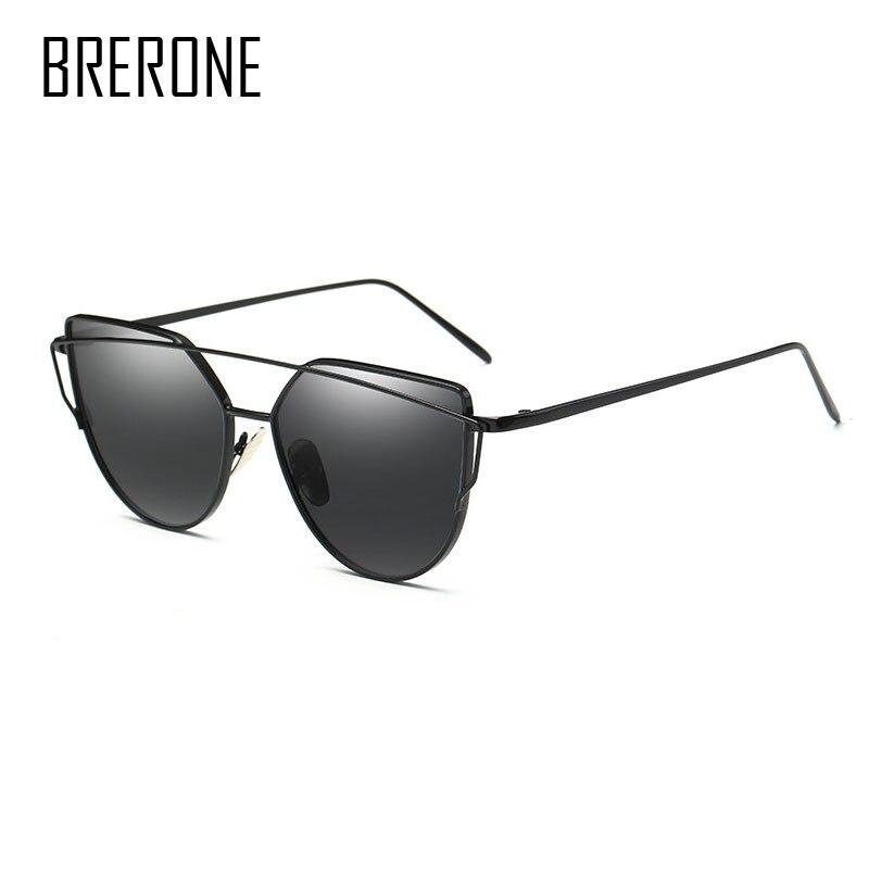 BRERONE Cat Eye Sunglasses Women Brand Designer Twin-Beams Sun Glasses Mirror Sunglasses Flat Panel Love Punch Clear Drop shop