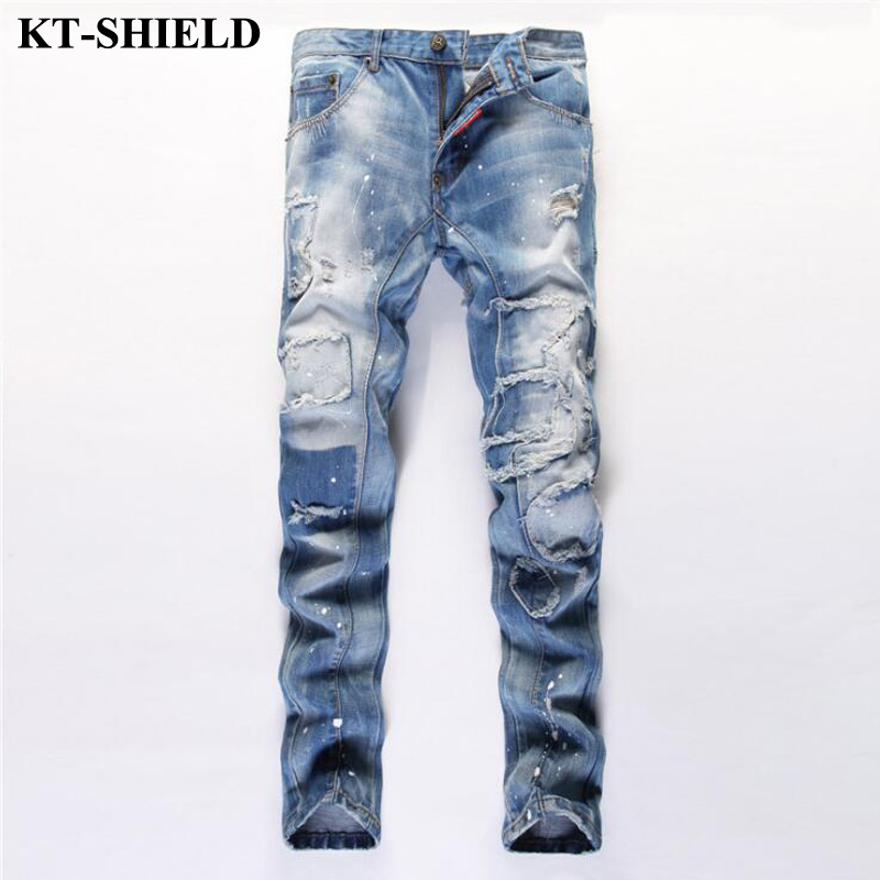 New Arrival Fashion Men Jeans Design Slim fit Jeans for Man Ripped Denim Trousers 100 Cotton