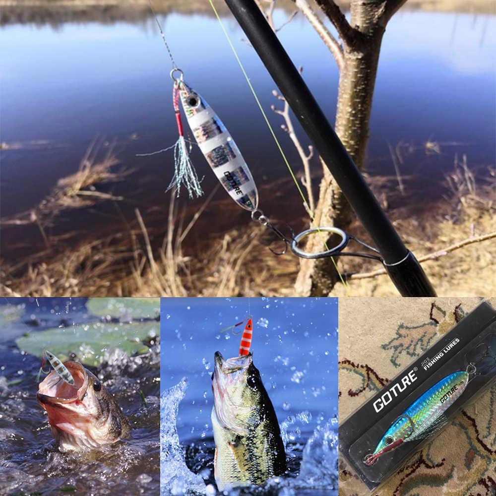 Goture طعم صيد معدن ملعقة الصيد إغراء 40 جرام 60 جرام بطيئة الملعب الشاطئ الصب القفز الرصاص الأسماك الطعم الاصطناعي البحر باس الصيد معالجة