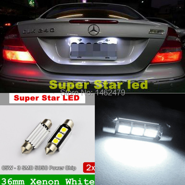 Pair 36mm No Error Number License Plate Light LED Bulb For Benz