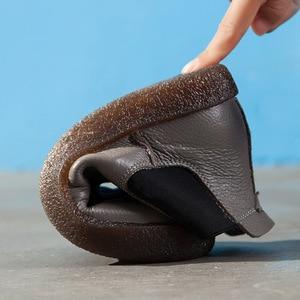 Image 5 - 2020 女性イングランドスタイルブランド新女性の本革フラットブーツの靴秋のアンクルブーツ冬のレトロなブーツ