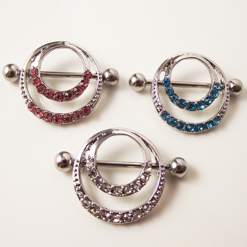 2piece 14G Punk Rock Round Circle Nipple Shield Rings Body Piercing Jewelry Crystal Nipple Bar ring For Women Gift