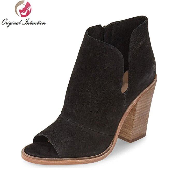 ФОТО Original Intention Women Ankle Boots Popular Peep Toe Square Heels Boots Elegant Black Brown Shoes Woman Plus US Size 4-15