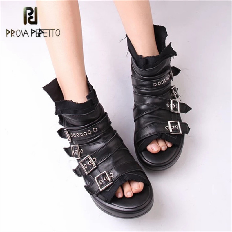 Prova Perfetto Peep Toe Women Summer Boots Genuine Leather Platform Creepers Female Gladiator Sandals Ankle Booties Flat Shoes designer women sandals summer creepers platform shoes peep wedges genuine leather slip on chaussure femme