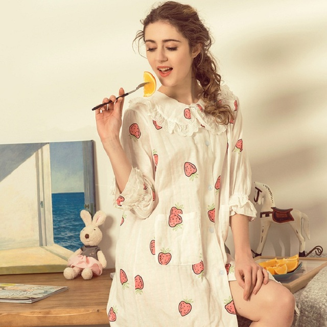 0d855c7be97a2 Cotton Strawberry Maternity Sleepwear Pregnant Women Pajamas Nursing Breast  Feeding Nightgown Clothes For Half Sleeves