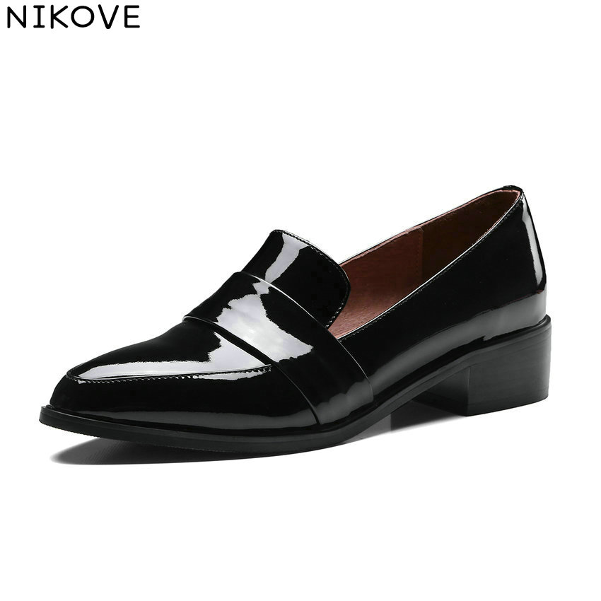 NIKOVE 2018 Women Pumps Western Style Cow Patent Leather PU Shoes Square Med Heels Pointed Toe Slip on Women Shoes Size 34-39 2018 patent leather slip on keep warm pumps for women square toe preppy style pearl wedding med heels brand winter shoes l18