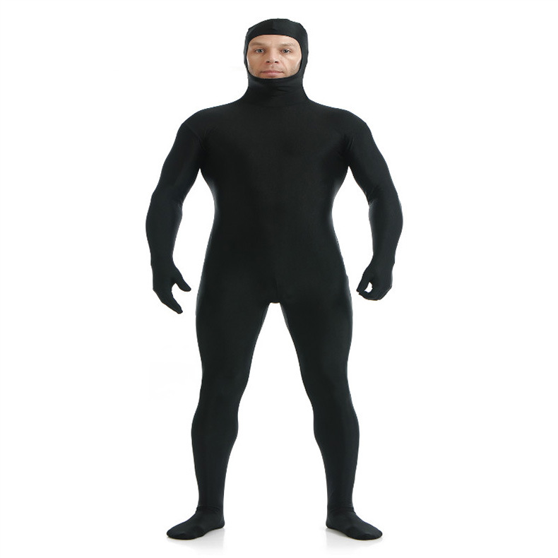 (SOF010) Black Lycra Spandex Full Body Fetish Zentai Skin Tights Unisex Bodysuit Cosplay Costume Unitard Jumpsuit Dancewear