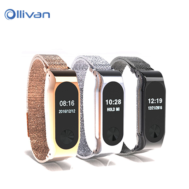 Ollivan Metal Strap For Xiaomi Mi Band 2 Milan Nice Belt Screwless Stainless Wristband Two Generation Bracelet For MiBand 2 Band