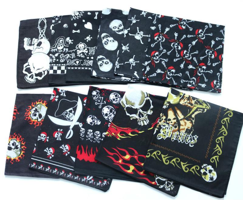Hot Sale Black Skull Bandanas Cotton Pocket Square Men Handkerchief Headband Headscarf SUJASANMY TJ9020