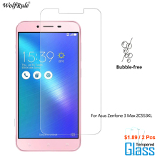 2PCS For Glass Asus Zenfone 3 Max ZC553KL Screen Protector Tempered Glass For Asus Zenfone 3 Max ZC553KL Glass Phone Film makibes toughened glass 0 33mm screen protector film cover arc edge for asus zenfone 2 5 0inch