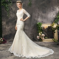 Vestido De Noiva Scoop Neck Mermaid Wedding Dresses With Lace Appliques 2018 Robe De Mariee