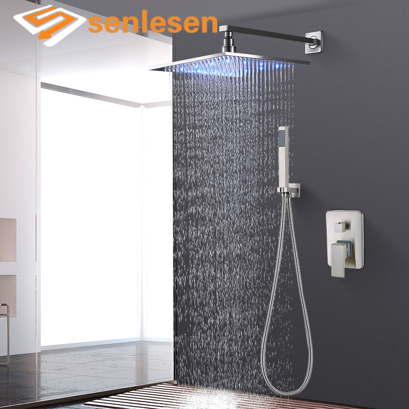 Wholesale And Retail LED Color Changing Rain Shower Head Stainless Nickle Brushed Square Shower Sprayer Head Para Bathroom hot sale wholesale and retail promotion new modern brushed nickel 12 rain shower head ultrathin shower head replacement