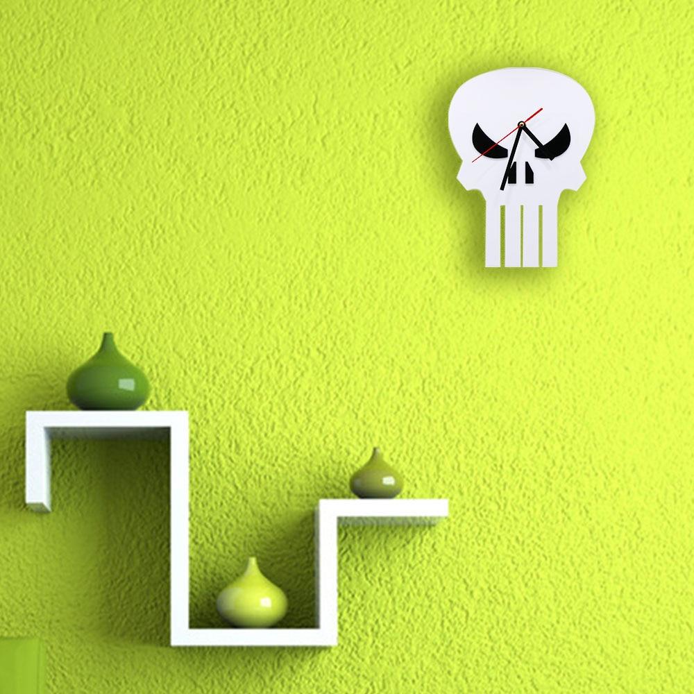 1Piece Minimalist Film Silhouette Skull Head Wall Clock Skeleton ...