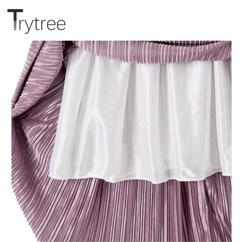 Trytree Summer Autumn Pleated Skirt Womens Vintage High Waist Skirt Solid Long Skirts New Fashion Metallic