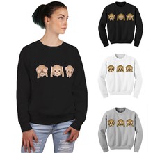 1Pcs Monkey Patterns Women Sweatshirt Autumn Hoodies Long Sleeve O-Neck 3D emoji printed Women Clothing Fleece Hoodie