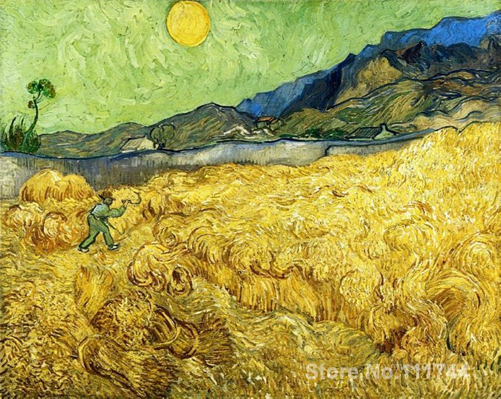 oil reproduction Wheat Field with Reaper and Sun by Vincent Van Gogh Canvas Painting Hand painted High quality