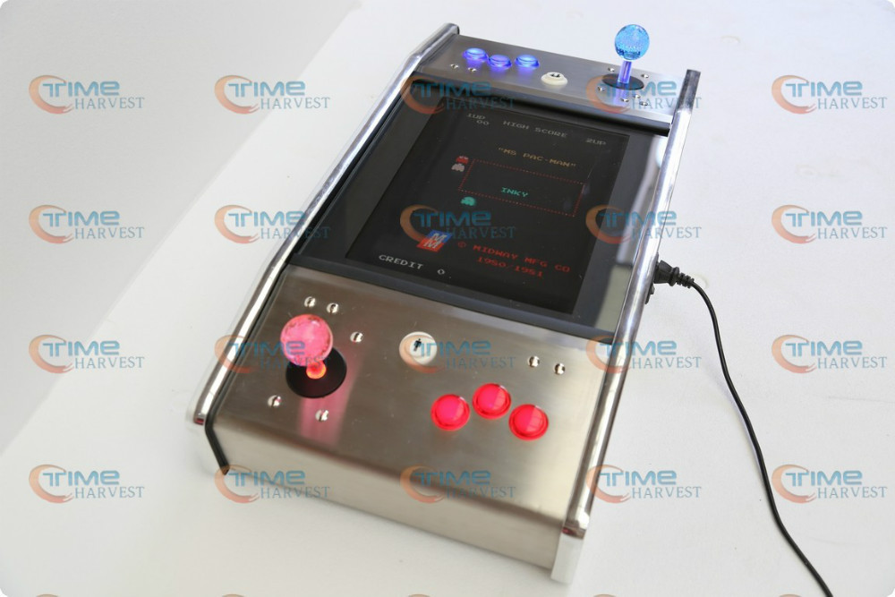 15 inch LCD Mini Stainless Steel Cocktail Arcade Machine with 60 In 1 PCB and long shaft joystick Illuminated button wholesale products 22 inch mini arcade game machine with 2100 in 1 pcb mini desktop arcade cabinet