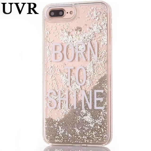 new styles dabb0 b0198 US $4.99 |UVR Born to Shine Miss Girl Boss Word Dynamic Ball Quicksand Pink  Silver Case Coque Funda for iPhone 6S 7 8 Plus X Diamond Cover-in ...