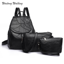 купить  Women Bags Backpack Genuine Leather 2017 Female Patchwork 3Pcs/Set Waterproof School Bag Mochila Bagpack Shoulder Bag Purse 445 по цене 1415.66 рублей