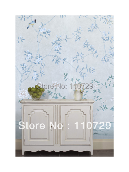 hand painted silk wallpaper painting flowers with birds silk wallcover sticker many pictures optional home decoration hand painted silk wallpaper hand painted painting plant with birds flowers many pictures backgrounds optional