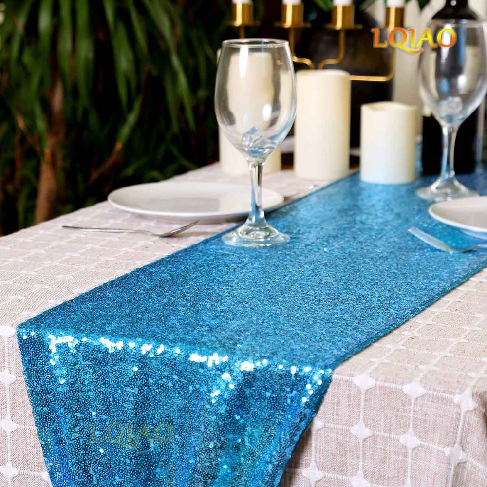 Sparkly Turquoise Sequin Table Runner Paillette Fabric