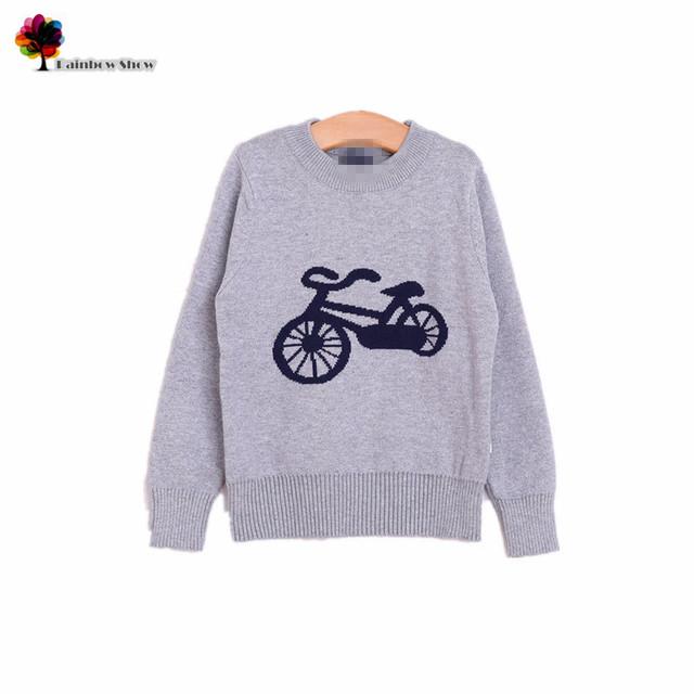 Novos meninos primavera outono encantador de bicicleta crianças de camisolas de algodão de qualidade
