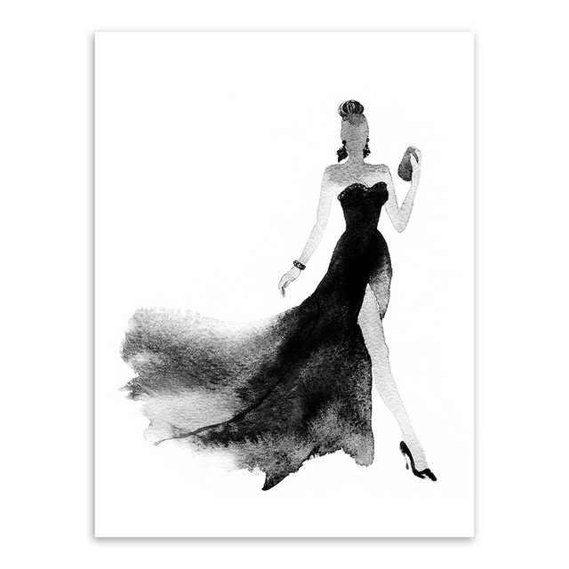Moderne Nordic Zwart Wit Mode Schoonheid Canvaskunst Poster Muur Foto Schilderij Elegante Meisje Kamer Home Decor No Frame