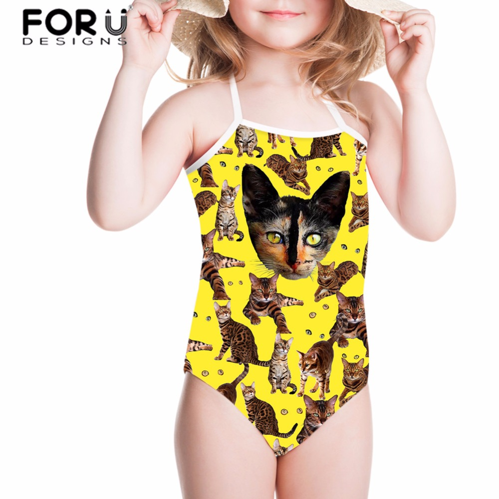 FORUDESIGNS One-piece Suits Swimsuit for Girls Children Swimwear Kawaii Cat Printing Bathing Suit for Kids Baby Beachwear 2018