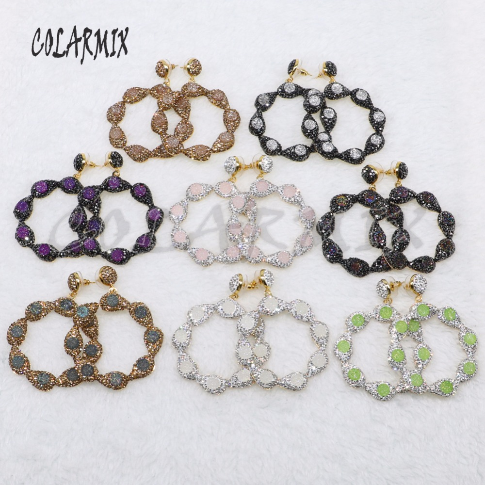 5 Pairs Mix colors stone earrings flowers dangle earrings white Fashion jewelry for women gift for