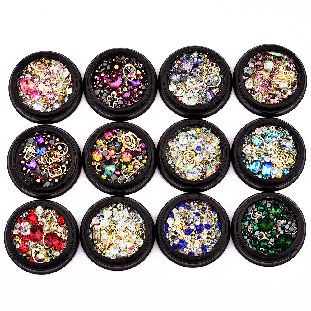 12Boxes Mixed Garment Beads For Needlework FlatBack Scrapbook Decoration Craft Cabochon DIY Embellishments Accessories(China)