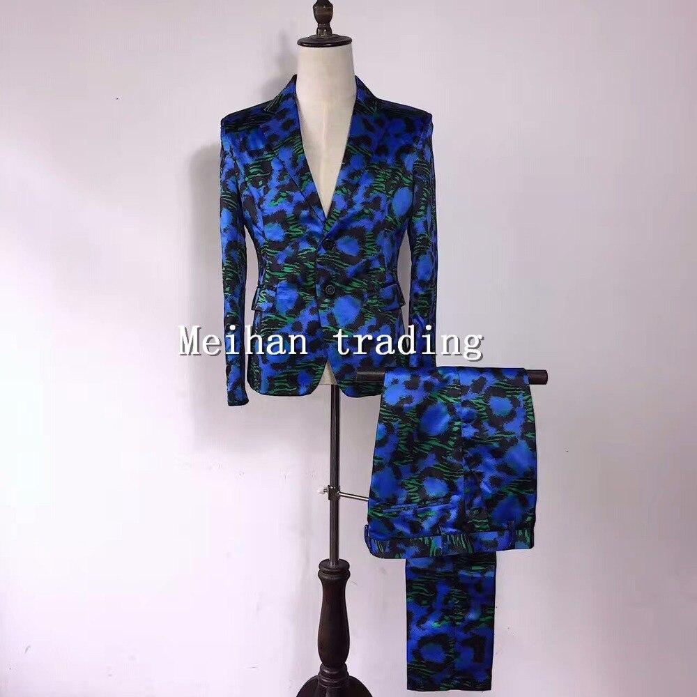 Fashion Korean Version Men's Suits Set Blue Zebra Printed Male Skinny Blazer Trousers Costume Performance Printing Suits