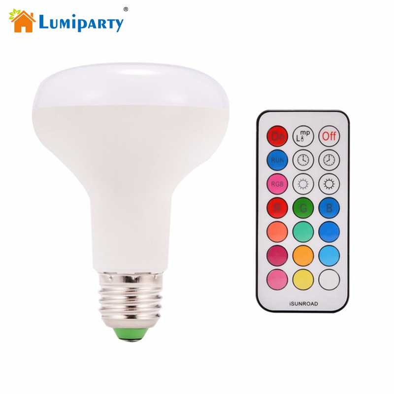 Lumiparty 10W E27 RGBW LED Bulb Light Color Changing with 21 Key Remote Control Dimmable Mood Lighting Lamp AC85-265V