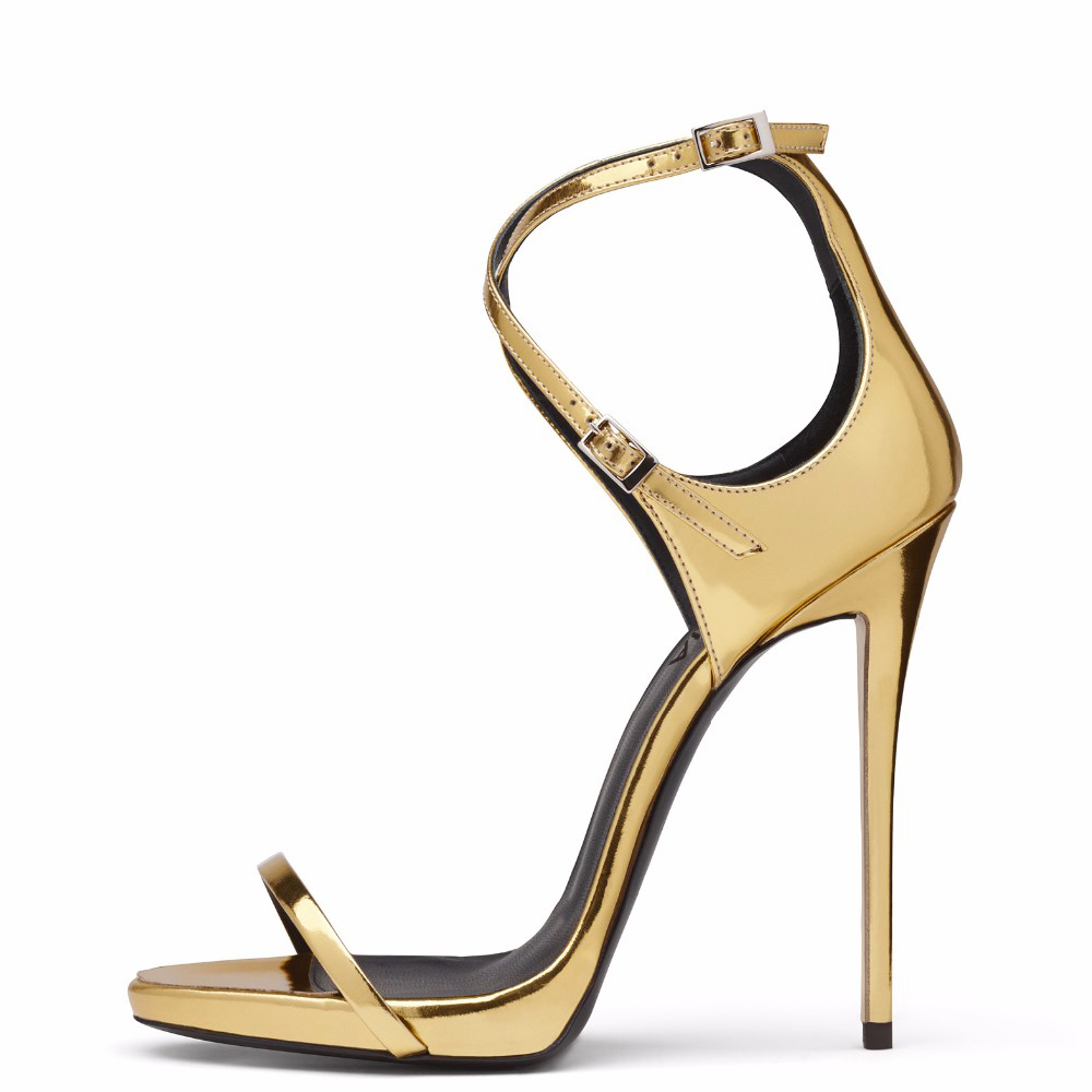 2019 summer sexy ladies lace sandals gold patent leather cross strap  stiletto heels banquet dress shoes