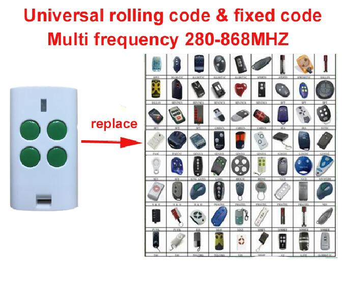 Universal Multi frequency 280-868MHZ 4 Button Key Fob rolling code fixed code Remote Control free shipping