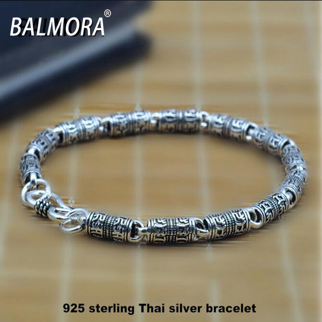 BALMORA 100% Solid 925 Sterling Silver Jewelry 5mm Width Bracelets for Men Male Punk Cool Jewelry Party Street Gifts HYB001